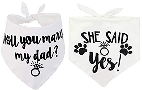 JPB 2 Pack Dog Bandana,Pet Wedding Scarf Engagement Gifts