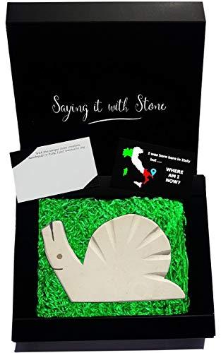 Escargot en pierre fait à la main en Italie - Symbole de guérison, d'appréciation de la vie, de patience et de changement - Coffret cadeau et carte de message vierge inclus - Saint Valentin amie