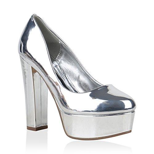 Damen Plateau Pumps Lack Metallic Schuhe Party High Heels 154444 Silber 36 Flandell