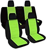 Totally Covers Compatible with 2018-2020 Jeep Wrangler JL Two-Tone Seat Covers: Black & Lime Green - Full Set: Front & Rear (21 Colors) 2-Door/4-Door Solid/Split Bench Back w/wo Armrest/Headrest