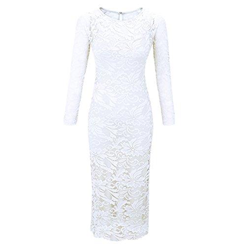 Laeticia Dreams Damen Kleid aus Spitze Langarm Wadenlang S M L XL XXL XXXL, Farbe:Weiss;Größe:48