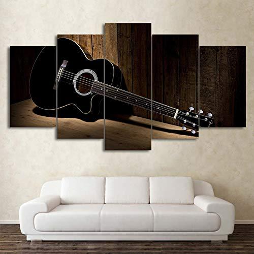 MMLFY 5 aufeinanderfolgende Gemälde Moderne Wandkunst Vintage Bilder Malerei 5 Panel Musik Gitarre Leinwand Malerei Drucken Bilder Wohnkultur Für Wohnzimmer Kunstwerk