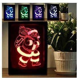 3D LED Santa Claus für Weihnachten Kristall mit bunte LED Lightbase Kinder zu Weihnachten Gifts Bilderrahmen mit Fernbedienung