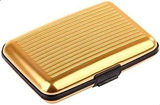 BUSINESS TRAVEL ID CREDIT CARD HOLDER WALLET ALUMINUM METAL POCKET CASE BOX GOLD