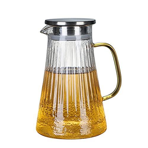 Jarras para Agua Jarra de Jugo de Vidrio Jarra de té Helado con Tapa de Acero Inoxidable Bebida Jarra de Agua Caliente/Caliente Jarra para Jugo,Bebida,Leche (Color : Clear, Size : 1000ml)