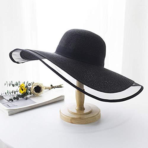 YHWW Sombrero para el Sol,15CM Sombrero de Paja de ala Ancha Sombreros de Playa de Encaje Moda para Mujer Señoras Verano Nuevo Protección UV Gorra Plegable para sombrilla Sombrero para el so