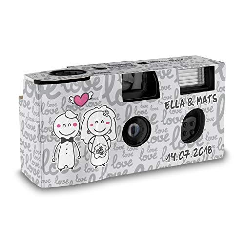 Hochzeitskamera Einwegkamera Happy Bride and Groom mit Personalisierung, ISO 400, 27 Aufnahmen, Blitz