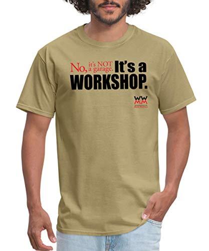 Spreadshirt Woodworking for Mere Mortals Workshop Men's T-Shirt, XL, Khaki