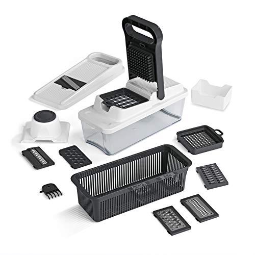 MAXXMEE Multi-Schneider Dicer Plus 16-TLG. | 8 Einsätze, Klingentausch per Klicksystem, Klingen aus Edelstahl, mit Sieb zum Waschen | Allesschneider [grau/weiß]
