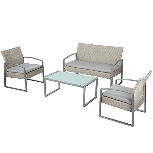 Am Group Home Set Mobili Giardino 4 posti con tavolino, poltroncine, divanetto in polyrattan Esterno Giardino, Salottino da Giardino - Thiago (Grigio)