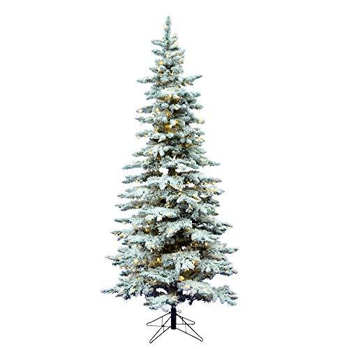 Vickerman Flocked Utica Fir Slim Artificial christmas-trees, 6.5', Warm White LED Lights