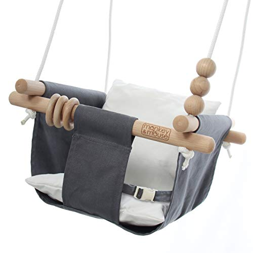 Monkey & Mouse Secure Canvas and Wooden Hanging Swing Seat Chair with a Baby, Infant, Toddler, Kids Toys - Indoor and Outdoor Hammock, for Tree Swings or Backyard Outside Swing Set Use (Grey & White)