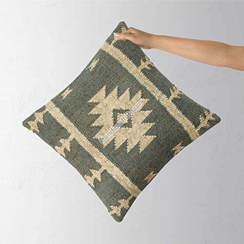 Handicraft Bazar R Yute Kilim Funda de almohada Vintage Lana Yute Funda de cojín Hippie Multi Color Funda de cojín de 45,7 cm Marroquí Maternidad Lana Yute Funda de almohada