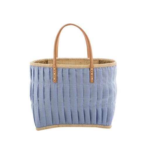 Rice Medium Check Fabric Covered Bag with Leather Handles - Blue