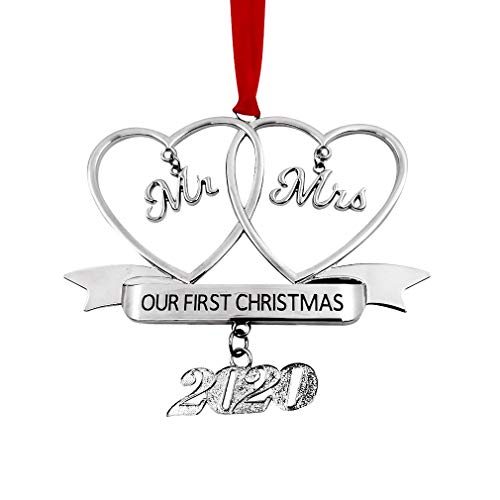 Our First Christmas Ornament as Mr Mrs Ornament with Red Ribbon Perfect Annual Christmas Tree Decoration (Silver Our First Christmas Mr Mrs)