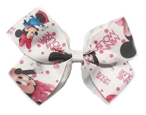 Lazo para niña pelo lazos Disney Minnie Pinzas de pelo para chica horquillas niña bebé chica (varios colores) (blanco)