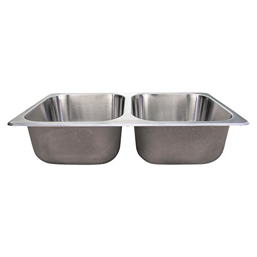 RecPro RV Stainless Steel Sink | 27x16x17 | Double RV Kitchen Sink | RV Sink | Camper Sink | Double Bowl Sink
