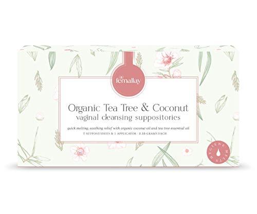Femallay Tea Tree Health & Hygiene Vaginal Wellness Suppository Melts, Boric Acid Free, Safe, Gentle & Effective, 100% Pure Organic Essential Oil