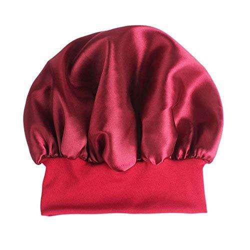 No brnd CGS2 Douche de Nouvelle Mode Casquettes Soie tête Large Couverture Bande élastique Femmes Satin Nuit de Sommeil Cap Bonnet Chapeau Cheveux Ensemble Bonnet de Douche (Color : Red)