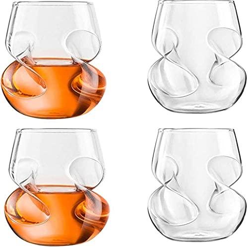 WYBL Vidrio de Whisky, Conjunto de Botellas de Cristal sin Cable Libre, Conjunto de vinos o cócteles de 4 0902