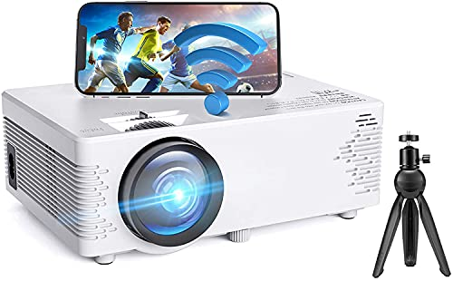 WiFi Projector, Bluetooth Projector Mini Portable Projector with Tripod, 1080P Supported Home Movie Projector with HiFi Sound, Outdoor Video Projector Compatible with TV Stick/Phones/PS4/TV Box/HDMI