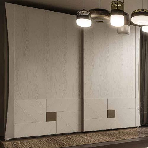 Dafne Italian Design Armario de 2 puertas correderas de madera de nogal (285 x 66 x 250 cm) (TVG)