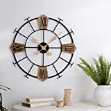 Black Large Decorative Wall Clock, iron and wood 24' inch Noiseless Silent Gear Large Wall Clock with Roman Numerals, Retro Vintage Rustic Farmhouse Style Ideal for Living Room Modern Home Décor