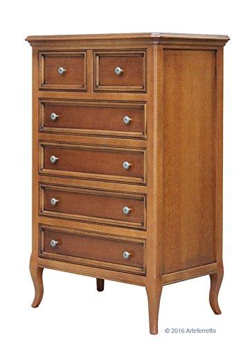 Kommode klassisch mit Schubladen, Möbel Kommode 6 Schubladen für Wohnzimmer Schlafzimmer Flur, Möbel aus Holz in Kirschholz patiniert mit Füße, Einrichtung aus Italien, MONTIERT