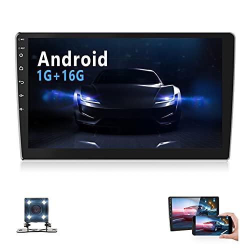 Android Autoradio Doppel Din mit 10.1'' HD Touchscreen Unterstützt Bluetooth Freisprecheinrichtung,Autoradio mit Navi,WiFi,Mirror Link,SWC,DVR,MP5 Player mit FM/AM/USB,Autoradio mit Rückfahrkamera