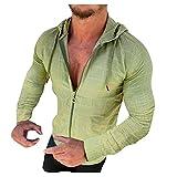 Binggong Sudadera con capucha para hombre, de manga larga, a cuadros, con cremallera, para correr, hacer deporte, para otoño e invierno