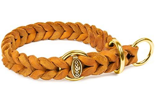 CopcoPet - Fettlederhalsband geflochten mit Messing Zugstop-Ring, Cognac 35-40 cm x 15 mm