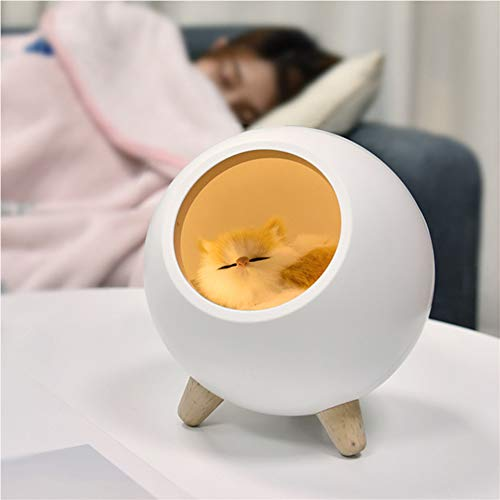 LED rechargeable Veilleuse chevet enfants, Chaton mignon Lampe de Chevet, Lampe de puériculture pour l'allaitement, Luminosité Ajustable pour chambre à coucher, chambre d'enfant, et salon,White