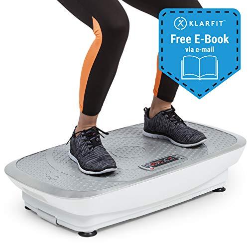 KLAR FIT Klarfit Vibe 3DX - Tabla vibratoria, Placa de vibración, Pantalla LCD, Capacidad máx. 120 kg, Potencia 2 x 250 W, 3 programas, Motor Doble 3DX, Cintas de Fitness, Blanco