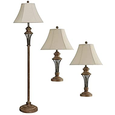 StyleCraft Home Collection 3 Piece Brown Rustic Moraga Floor and Table Lamp Set