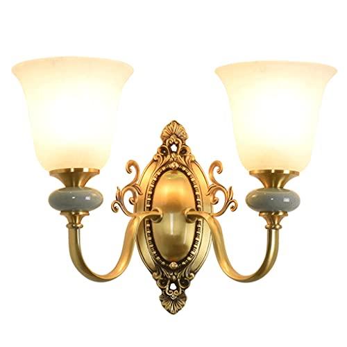 Lámpara de Pared Iluminación Lámpara de pared Lámpara de pared de cobre de doble cabeza nórdica Lámpara de estar de la sala de estar de la pared creativa americana minimalista vidrio de cerámica decor