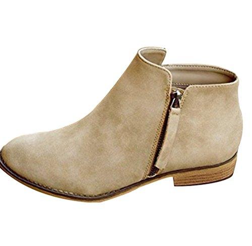 ZKOO Botas Zapatos de Mujer Bajo Tacón Planos Botines Cálido Forro Zapatos Otoño Invierno Casual
