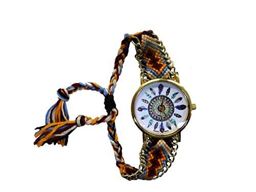 süße Hippie Style Armbanduhr mit geflochtenem Band (blau)