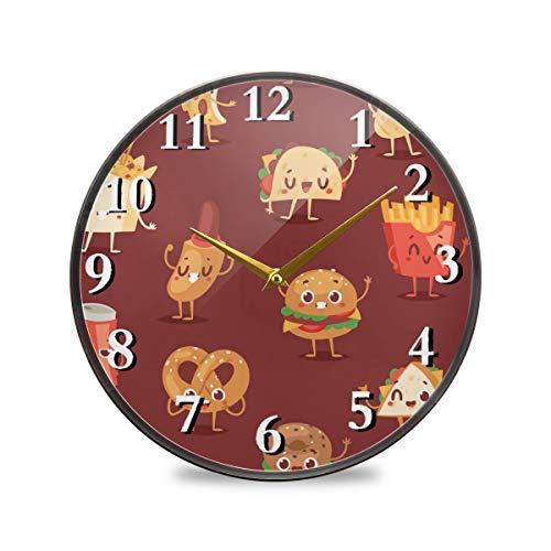 iRoad Acryl Runde Uhr Cartoon Hamburger Cola tickt nicht leise batteriebetrieben Wanduhr für Wohnzimmer Schlafzimmer Home Office, multi, 11.9x11.9in