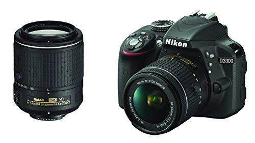 Nikon D3300 Digitale Spiegelreflexkamera, 24,2Megapixel, LCD-Display mit 7,6 cm (3Zoll), 8GB SD, 200x Premium Lexar, Farbe: Schwarz