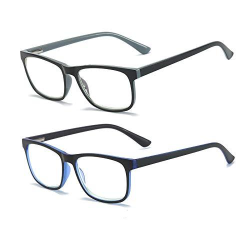 Mode Blaulichtfilter Lesebrille Federscharnier Computerbrille Quadratische HD Anti Blaulicht Brille Herren und Damen (2 stueck(Grau、Blau), 1.5)