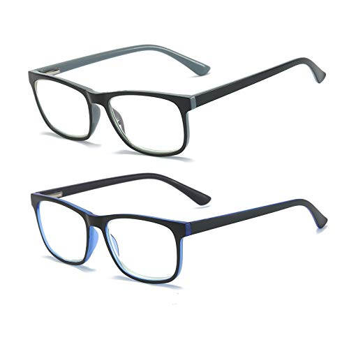 MMOWW Confezione da 2 Occhiali da Lettura: Anti Luce Blu Occhiali Ultraleggeri con Cerniere a Molla e Clear Square Lente (Grigio + Blu Scuro, +1.5)