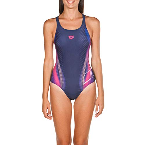 Arena W Briza S/S, Costume Sportivo Donna, Blu (Navy/Shiny Pink), 42