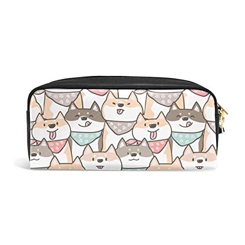 Estuche para lápices lindo Dibujos animados Shiba Inu Estampado de perro Animal Estuches para bolígrafos Organizador Cuero de PU Bolsa de maquillaje Comestic Bolsa de maquillaje, Regalos de regreso a