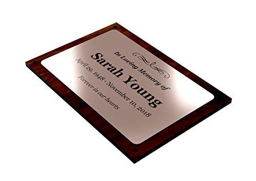 Placa conmemorativa personalizable con diseño original, de cobre y nogal, apta para uso interior y exterior