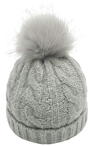 B/O Womens Winter Cable Knitted Beanie Hat with Faux Fur Pom Wool Blend Warm Knit Skull Cap Beanie for Women - Grey - M
