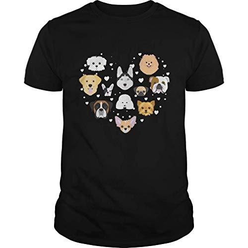 Patisaner Men's Valentine Heart Shaped Dogs Fashion Graphic Kurzarm T-Shirt