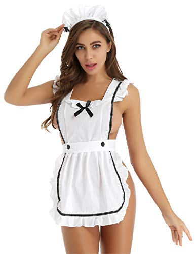 winying Damen Dienstmädchen Kostüm Hausfrau Erotik Dessous Set Putzfrau Uniform Schürze mit Haarreifen und Mini Tanga String Weiß One Size