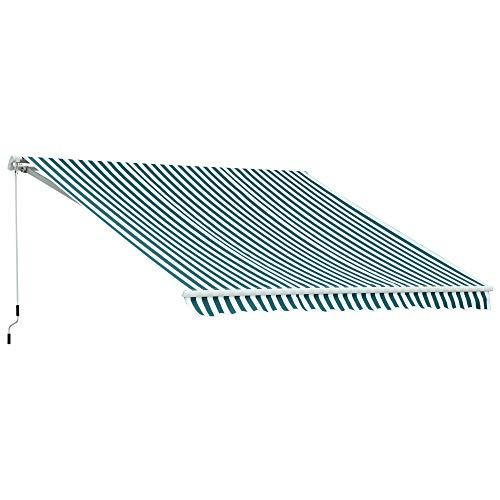 Outsunny Markise Gelenkarmmarkise Sonnenschutz Balkon Grün-weiß 2,95x2,5m