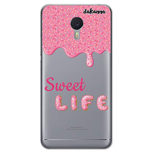 dakanna Schutzhülle Kompatibel mit [Meizu M3 Note] Flexible Silikon-Handy-Hülle [Transparenter Hintergr&] Rosa glasierter Donut mit Phrase Sweet Life Design, TPU Gel Hülle Cover für Dein Smartphone