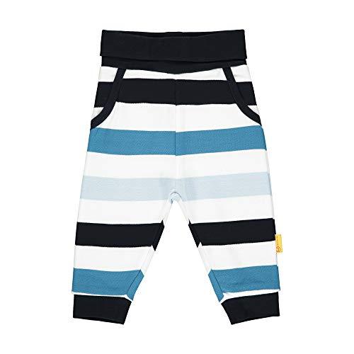 Steiff Baby-Jungen mit Streifen und Teddybärmotiv Jogginghose, Blau (Black Iris 3032), 80 (Herstellergröße: 080)